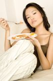 Asian Eating Breakfast Royalty Free Stock Images