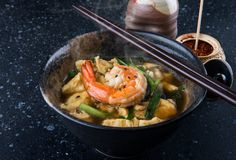 Asian egg soup style. Asian egg soup style with soy sauce and big prawn serve in Japanese restaurant stock images