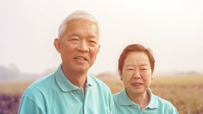 Asian elderly couple at farm rice field business happy nature li Stock Photos