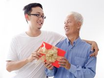 Happy fathers day and present royalty free stock photos