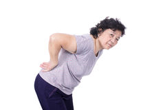Asian elderly woman with a sick back, backache, isolated on a wh Stock Image