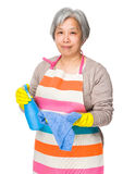 Asian elderly woman use of detergent fo cleaning Stock Photography