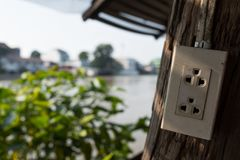 Asian electric plug with multiple socket Stock Photos