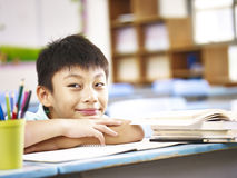 Asian elementary school student. Asian elementary school boy showing a funny and naughty face Royalty Free Stock Photos