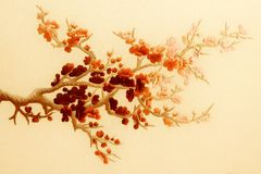 Asian embroidery. Embroidery, flowers,ornament, fabric,sakura,material Stock Image