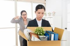 N employee scolded by the mean boss royalty free stock images