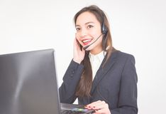 Asian employer working at customer service Stock Photos