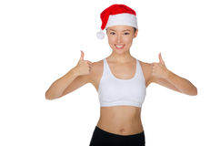 Asian endorses fitness and Christmas Royalty Free Stock Photography