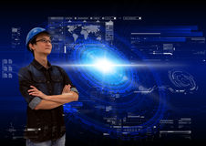 Asian engineer analysing high tech interface elements, sci-fi technology abstract background Stock Photo