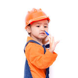 Asian Engineer baby girl with pen in hand Stock Image