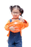 Asian Engineer baby girl take the glasses Royalty Free Stock Photography