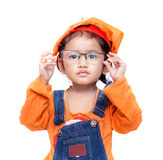Asian Engineer baby girl take the glasses Royalty Free Stock Image