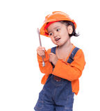 Asian Engineer baby girl and wrench in hand Stock Photography