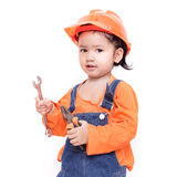Asian Engineer baby with tools in hand Royalty Free Stock Images
