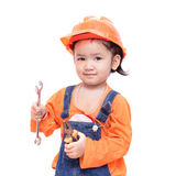 Asian Engineer baby with tools in hand Royalty Free Stock Image