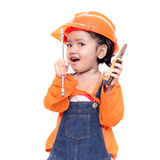 Asian Engineer baby with tools in hand Stock Images