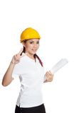 Asian engineer girl show victory sign Royalty Free Stock Image