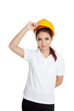 Asian engineer girl take of hardhat Royalty Free Stock Photos