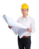 Asian engineer holding blue print Royalty Free Stock Photos