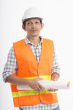 Asian engineer holding paper rolls Stock Image