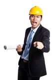 Asian engineer man is angry shout and point to camera Royalty Free Stock Images
