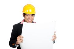 Asian engineer man with blueprint Royalty Free Stock Image