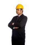 Asian engineer man fold  his arms Royalty Free Stock Image