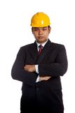 Asian engineer man fold  his arms look at camera Stock Photos