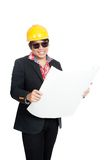 Asian engineer man hold blueprint and smile Stock Photography