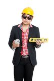 Asian engineer man hold spirit level Royalty Free Stock Photo