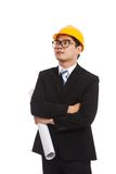 Asian engineer man look up with blueprints Stock Images