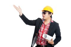 Asian engineer man open his palm asking someone Royalty Free Stock Photo