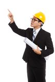 Asian engineer man point up with blueprints Stock Images