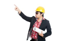 Asian engineer man point up Stock Photos