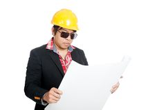 Asian engineer man read blueprint Royalty Free Stock Images