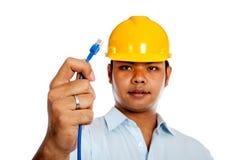 Asian engineer man show a lan line focus on the li Stock Image