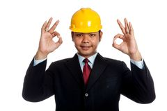 Asian engineer man show OK sign with both hand Stock Photos