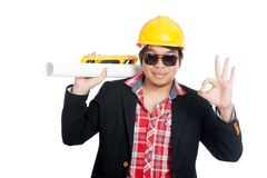 Asian engineer man show Ok sign Stock Image