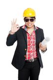 Asian engineer man show OK sign Stock Photo