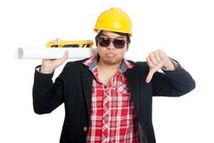 Asian engineer man show thumbs down Royalty Free Stock Photo