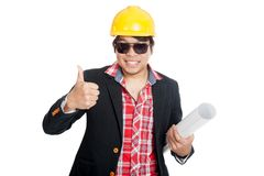 Asian engineer man show thumbs up Royalty Free Stock Photos