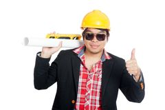 Asian engineer man show thumbs up Royalty Free Stock Images