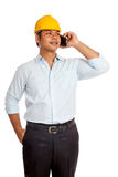 Asian engineer man talking on a phone smile and lo Stock Photo