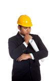 Asian engineer man is thinking Royalty Free Stock Photo