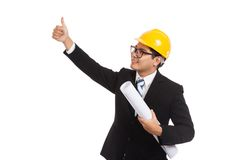 Asian engineer man thumbs up look up with blueprints Royalty Free Stock Photos