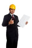 Asian engineer man thumbs up with vertical  blank sign Royalty Free Stock Photography