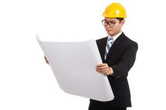 Asian engineer man working with blueprints Stock Photography