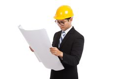 Asian engineer man working with blueprints Royalty Free Stock Photos