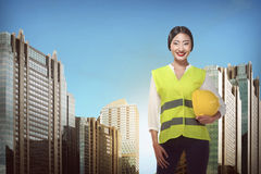 Asian Engineer Wearing Safety Vest Stock Photography