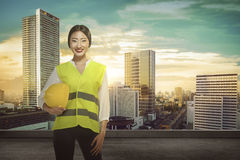 Asian Engineer Wearing Safety Vest Stock Image
